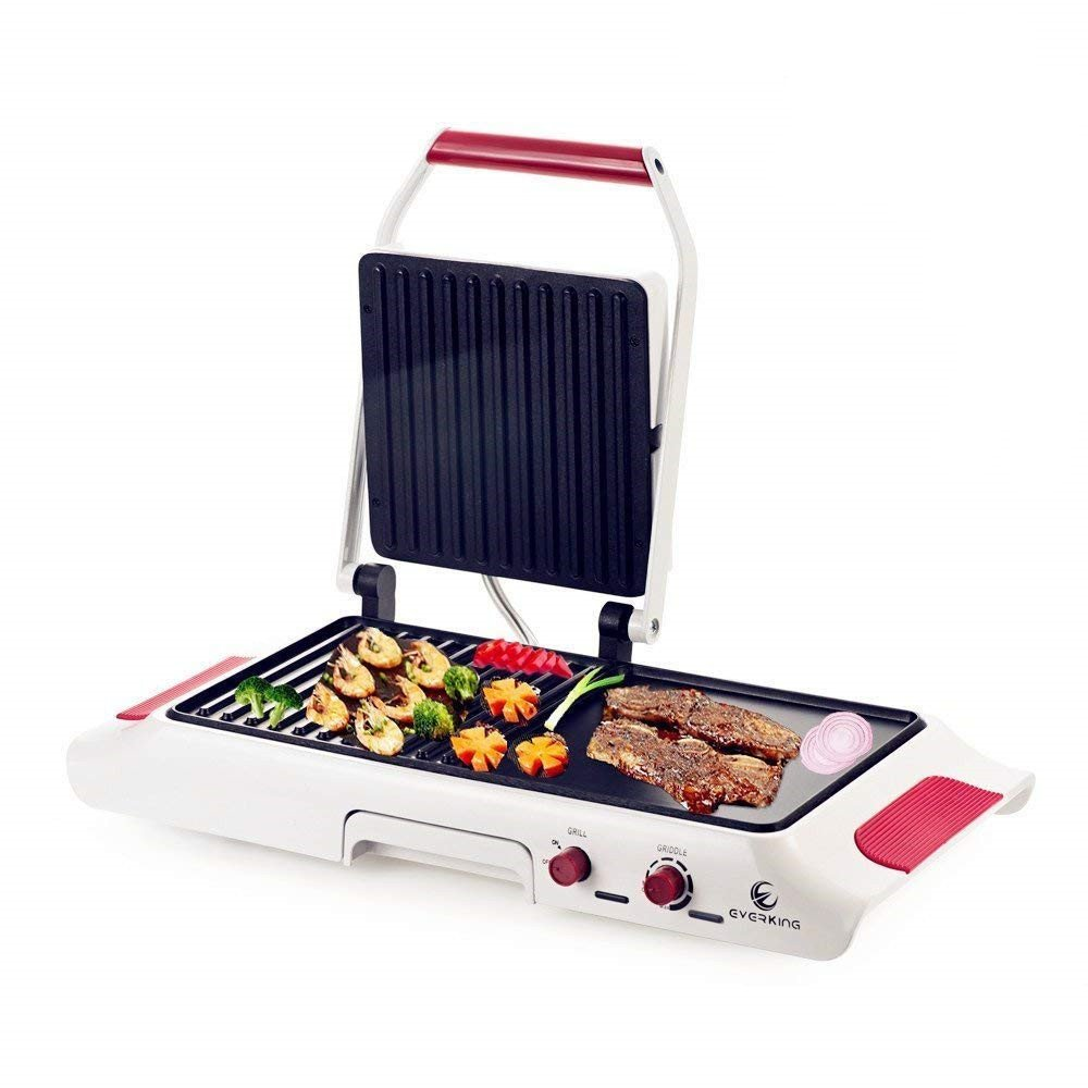 E EVERKING 1600W Electric Grill Griddle, Adjustable Temperature Searing Grill and Griddle Combo, Multi-Grill 2 in 1 Sandwich Maker for Indoor Outdoor, White