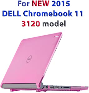 "iPearl mCover Hard Shell Case for 11.6"" Dell Chromebook 11 3120 Series Released After Feb. 2015 with 180 Degree LCD Hinge (NOT Compatible with Dell C11 210-ACDU, 3180, 3189 Series) (Pink)"