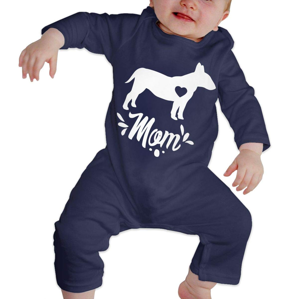 LBJQ8 Bull Terrier Dog Mom Newborn Baby Girl Infant Sleep and Play Bodysuits Coverall Jumpsuit