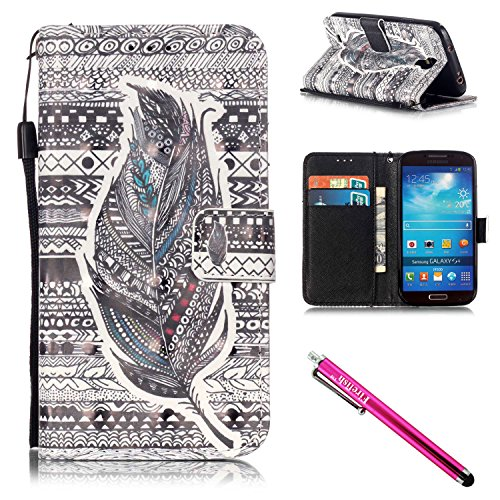 Galaxy S4 Case, Galaxy S4 Wallet Case, Firefish [Kickstand] [Shock Absorbent] Double Protective Case Flip Folio Slim Magnetic Cover with Wrist Strap for Samsung Galaxy S4 i9500-Feather