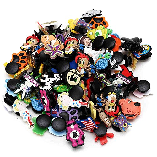 Shoe Charms for Croc, PVC Shoe Decorations for Boys Girls Teens, funny animal and cute flower, Random 100 Pack
