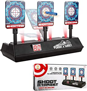 CPSYUB (2019 Updated Edition) Electric Digital Target for Nerf Guns Toys,Scoring Auto Reset Nerf Target for Shooting with Wonderful Light Sound Effect Nerf Guns for Boys Girls