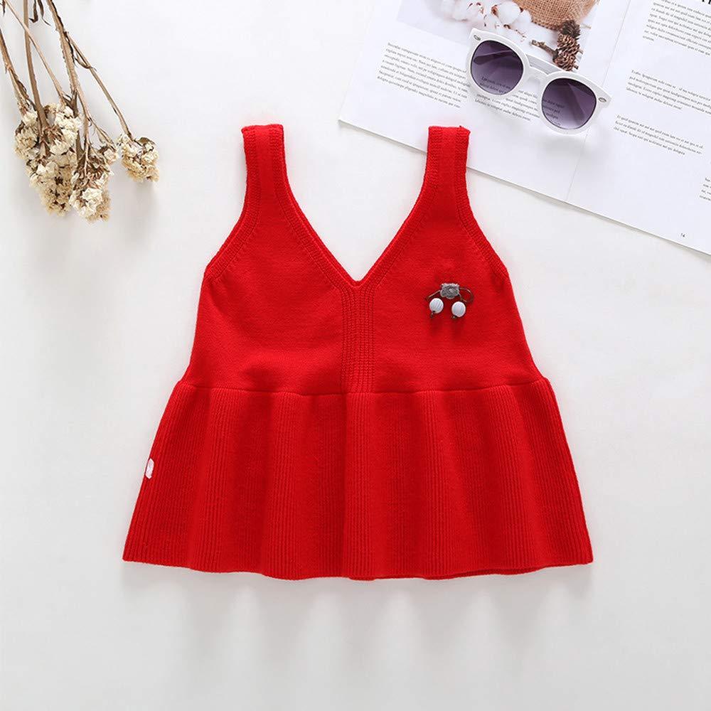 Dream Room Dresses Toddler Infant Kids Baby Girls Sleeveless Bow Pure Color Vest Princess Dress