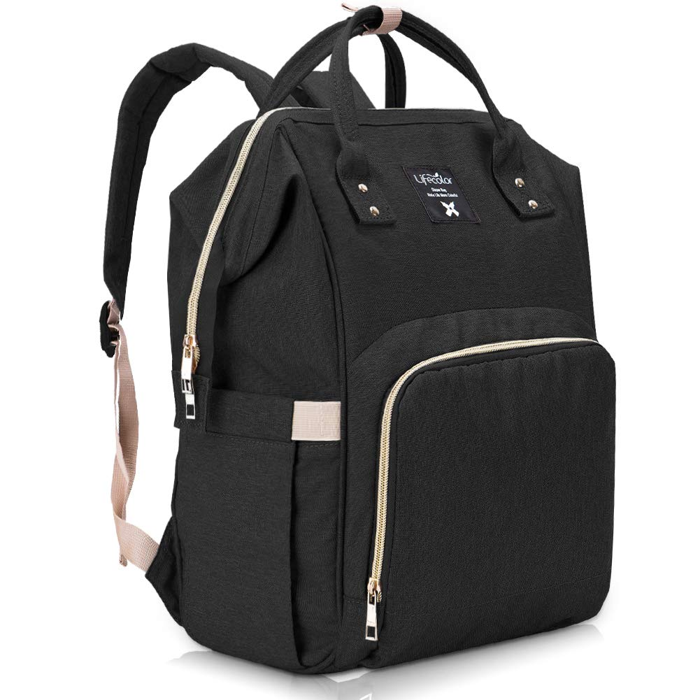Lifecolor Diaper Bag Nappy Bags Waterproof Travel Backpack Mom Baby Care(Black)