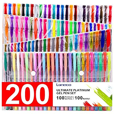 200 Coloring Gel Pens Set, Laneco 100 Unique coloring Pens Plus 100 ink Refills, 20% More Ink Than Normal gel Pen, Medium-Point (0.8 mm), Non Toxic & Acid Free , Ideal for Adult Coloring Book