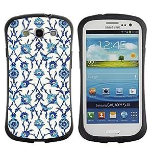 "Pulsar iFace Series Tpu silicona Carcasa Funda Case para SAMSUNG Galaxy S3 III / i9300 / i747 , Pájaros Flores Blanco Azul"""
