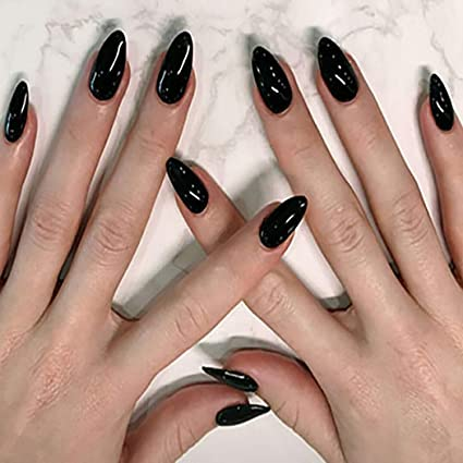 Brishow Coffin False Nails Black Halloween Fake Nails Acrylic Press On Nails Full Cover Stick On Nails 24pcs For Women And Girls Amazon Co Uk Beauty