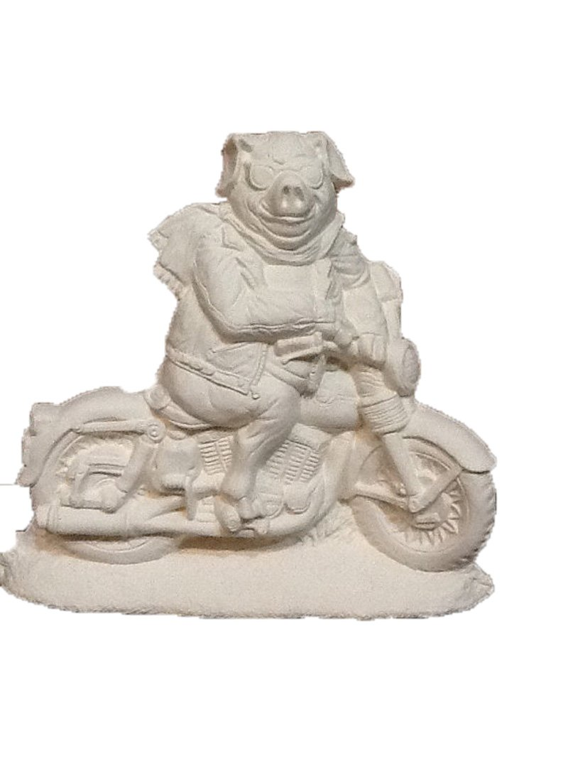 Pig on a Motorcyle 6 1/4'' x 7 1/2'' Ceramic Bisque, ready to paint