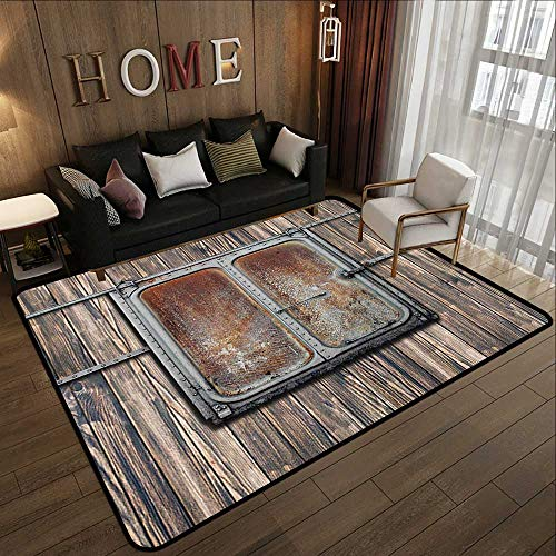 Silky Smooth Bedroom Mats,Rustic Decor,Wooden Tree Planks with Old Rusty Two Angled Metal Boat Door Artwork,Brown and Grey 55