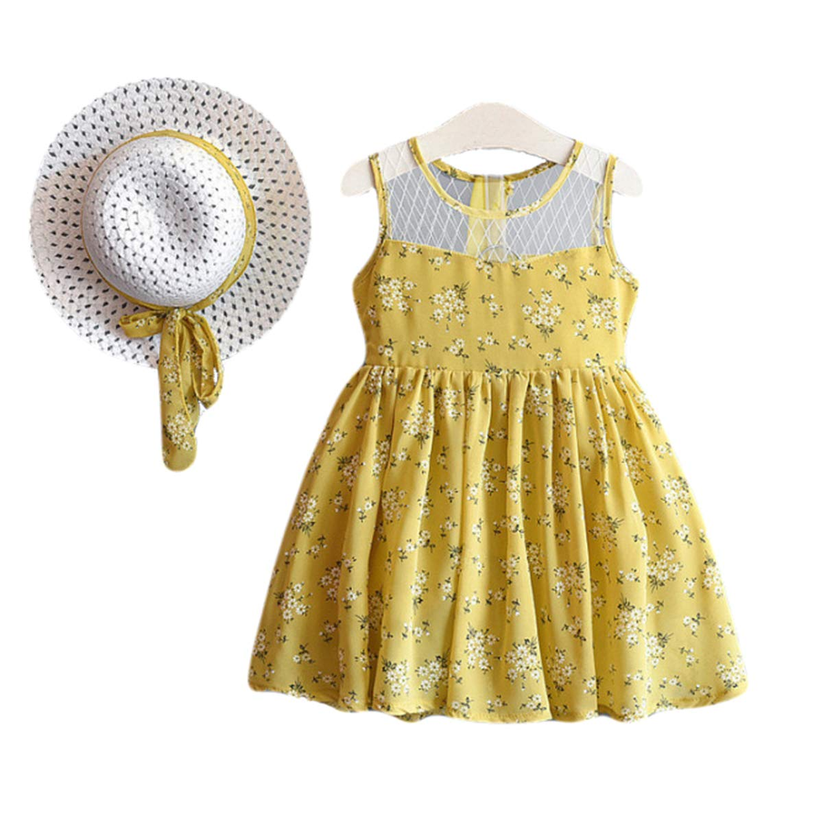 BONNY BILLY Baby Girl Spaghetti Strap Multicolour Floral Chiffon Summer Holiday Beach Dress for Toddlers