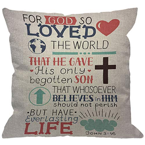 HGOD DESIGNS Golden Bible Verse Throw Pillow Cover,Lettering with Heart Cross Christian Biblical John 3 16 for God So Loved The World Decorative Pillow Cases Cushion Cover for Sofa Couch 18x18 inch]()