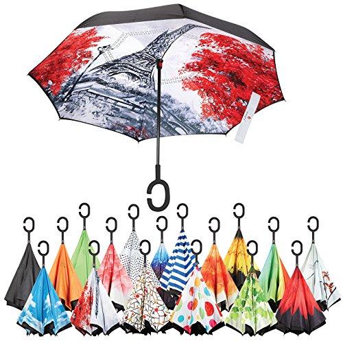 Sharpty Inverted Umbrella, Best Windproof Umbrella, Reverse Umbrella, Umbrella with UV Protection, Upside Down Umbrella With C-Shaped Handle (Eiffel tower)