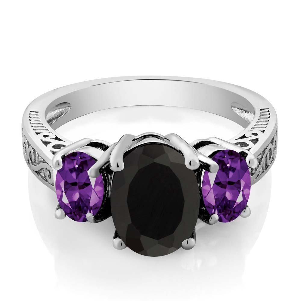 2.53 Ct Oval Black Onyx & Purple Amethyst 925 Sterling Silver 3-Stone Gemstone Women's Ring (Size 5) by Gem Stone King (Image #2)