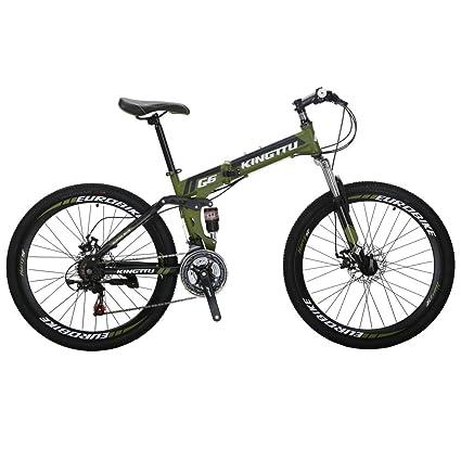 Kingttu G6 Mountain Bike 21 Speed 26 Inches Dual Suspension Folding Mountain Bike Army Green 2018
