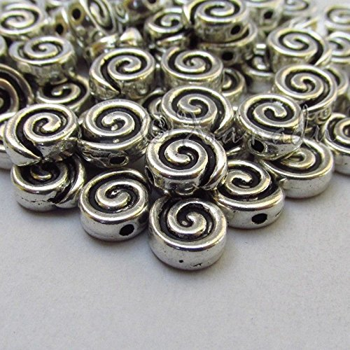 OutletBestSelling Pendants Beads Bracelet Spiral Beads - 9mm Antiqued Silver Plated Spacer Beads 100pcs - Quartz Spiral Pendant