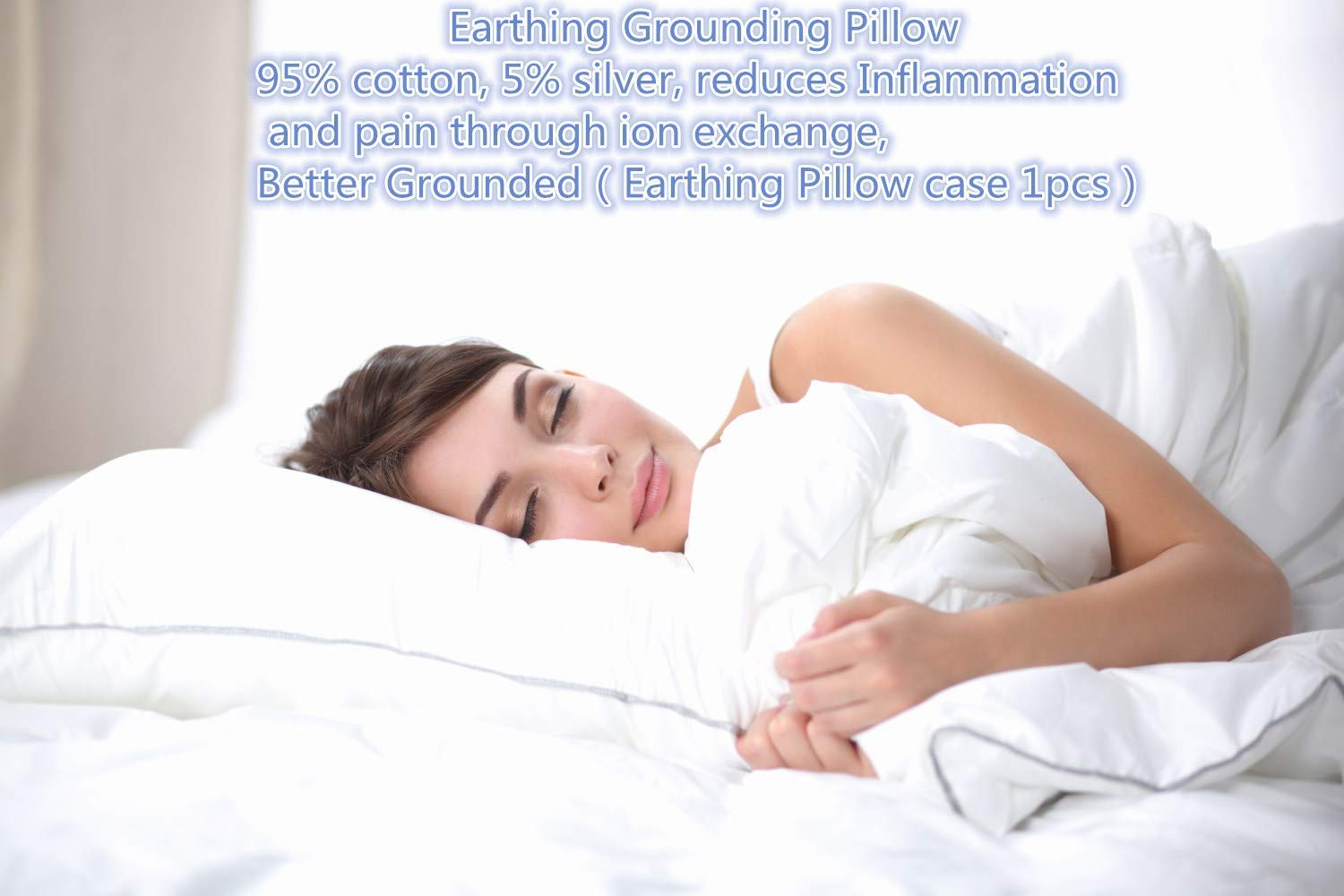 Safe for Kids and Adults Earthing Pillowcase fits Full Queen and King Size Beds pillow case 1 pc-01 A New Lifestyle Recommend Earthing Pillow case with Grounding Connection Cord Conductive Grounding Mat for Better Sleep/Natural Wellness