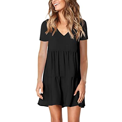 Amoretu Women Summer Tunic Dress V Neck Casual Loose Flowy Swing Shift Dresses at Women's Clothing store