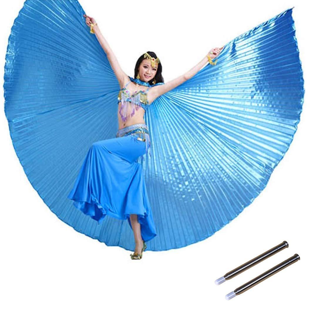Calcifer - Alas de á ngel Egipcio para Danza del Vientre con 2 Palos telescó picos (Color Azul Cielo)