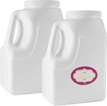 2 Pack - 1.28 Gallon White Square Plastic Storage Containers - Jars w/Plastic Airtight Lids – 164 Oz Empty Jugs with Handles - Wide Mouth Easy Clean Jar - BPA free food Safe – for Home & Commercial