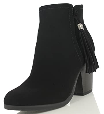 Women's Caption Faux Leather Closed Toe Tassel Stacked Heel Ankle Boot