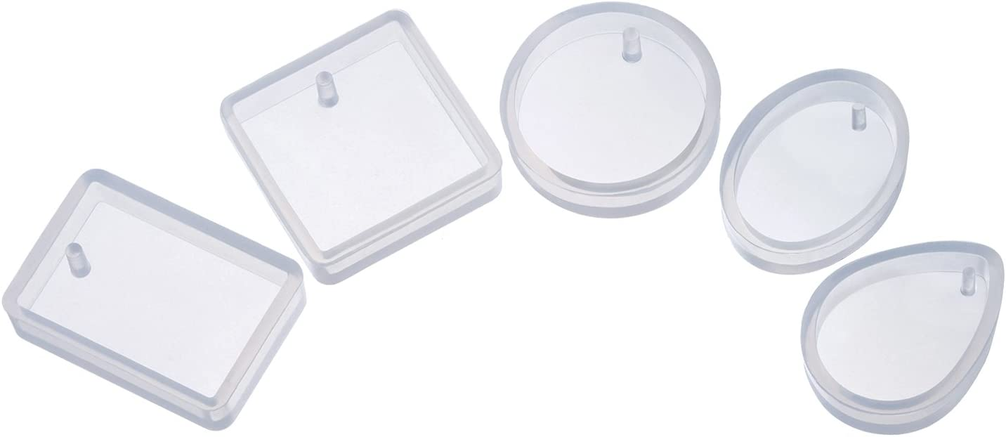 TOODOO 5 Shapes Silicone Resin Mould Pendant Jewellery Molds with Hanging Hole for DIY Craft Making, Semi-Transparent