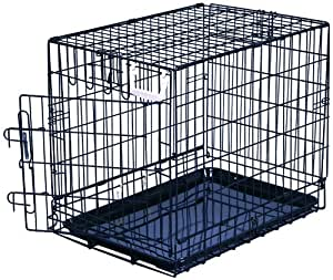 "General Cage Premium Folding 200 Series Pet Crate w plastic pan, 21"" W x 30.5""D x 24.25"" H, Black Epoxy Finish"