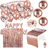 Rose Gold Party Decorations | 24 Pack | 16 R. Gold Balloons 18 INCHES + a Table Runner + a Set Happy Birthday + a R. Gold Curtain + 30M Ribbon + 700 pcs R. Gold Table Confetti | a Birthday Party Combo