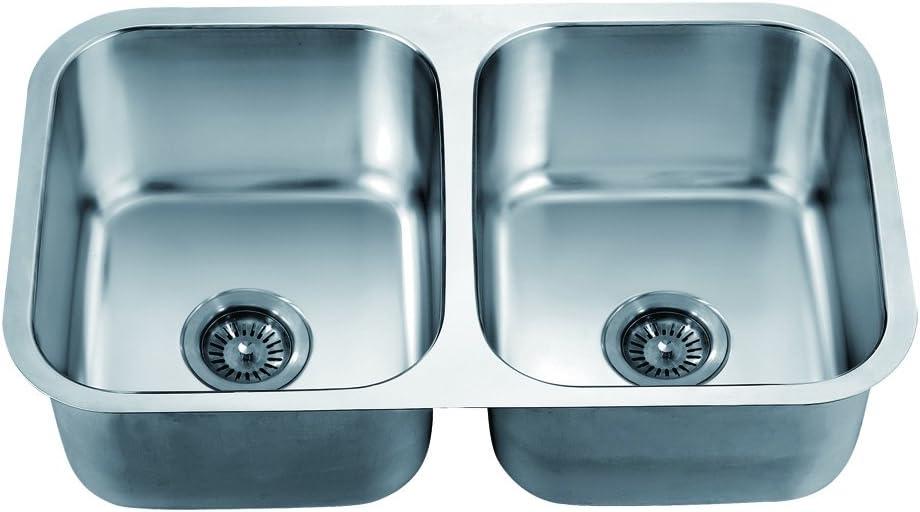 Polished Satin Dawn ASU109 Undermount Equal Double Bowl Sink