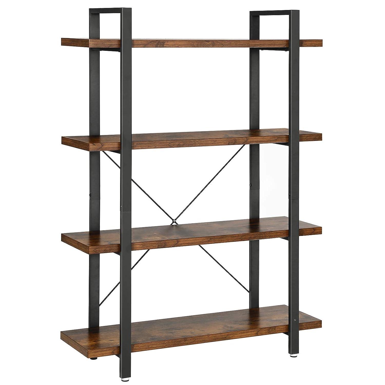 VASAGLE Industrial Bookshelf, 4-Layer Stable Bookcase, Storage Rack, Standing Shelf, Easy Assembly, Living Room, Bedroom, Office, Rustic Brown ULLS54BX