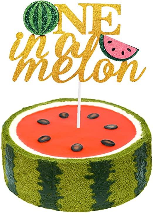 Terrific One In A Melon Cake Topper First Birthday Cake Decorations 1St Funny Birthday Cards Online Eattedamsfinfo