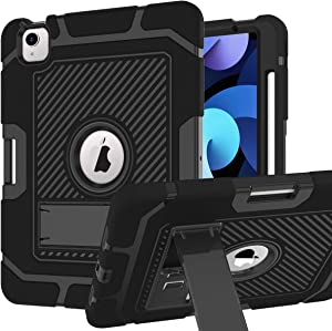 PIXIU iPad air 4th Genereation case with Pencil Holder,iPad 10.9 Case with Kickstand,Three Layer Heavy Duty Shockproof (Silicon+Plastic) Protective Hybrid Sturdy Case for ipad air 2020 Released Black