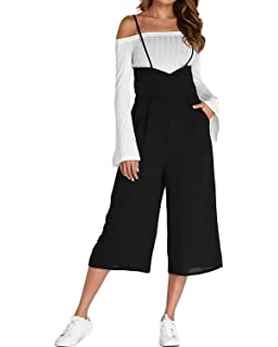 ece5b64a7053 ACHIOOWA Women s Casual Loose Dungarees Baggy Jumpsuit Playsuit Retro  Sleeveless Trousers Pants Plus Size
