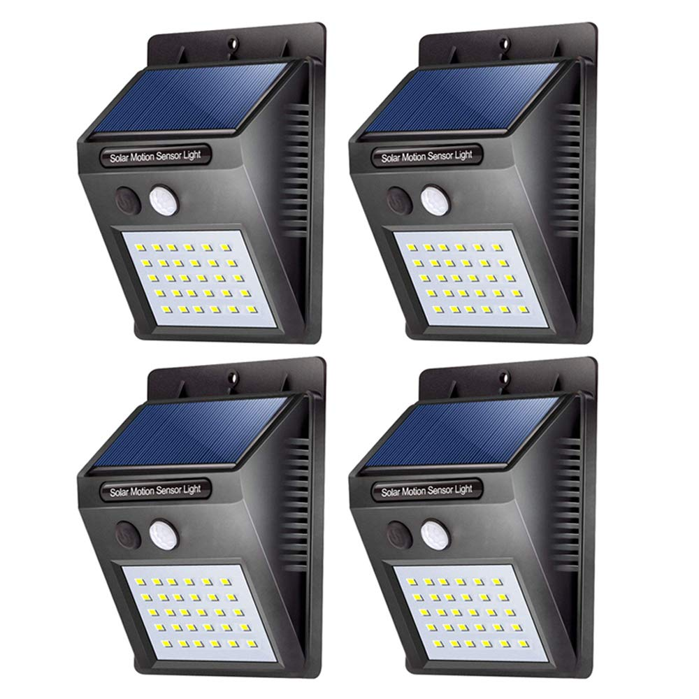 Walensee 30 LED Solar Lights Outdoor, Waterproof Wireless Solar Motion Sensor Lights, 120° Wide Angle, Easy to Install Lighting Lamp Wall Lights Security Lights for Front Door, Yard, Patio, 4 Pack