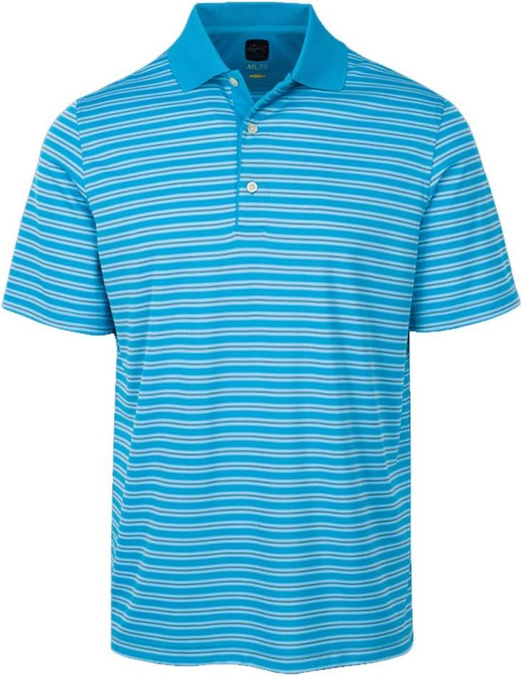Greg Norman Mens Protek Ml75 Microlux Stripe Polo Blue M