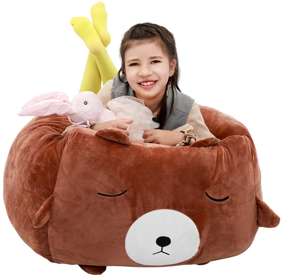 SANMADROLA Stuffed Animal Storage Bean Bag Chair Cover for Kids and Adults.Soft Premium Corduroy Stuffable Beanbag for Organizing Children Plush Toys or Memory Foam Extra Large 300L Black