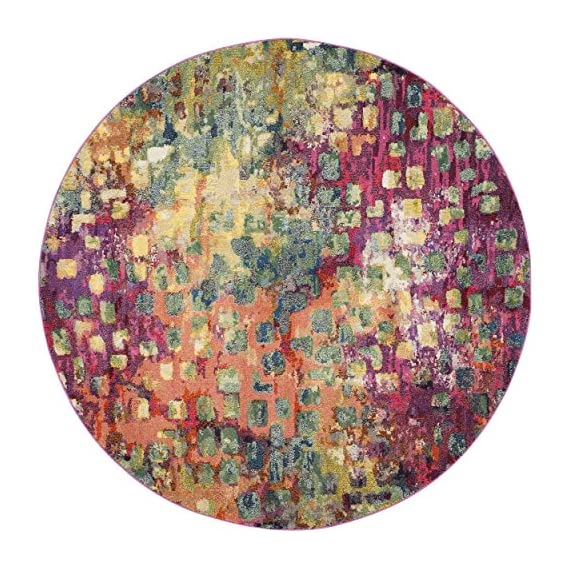 Safavieh Monaco Collection MNC225D Modern Abstract Watercolor Pink and Multi Round Area Rug (3' Diameter) - Safavieh's Monaco Watercolor Rug with 400+ customer reviews Brighten up any space with this stunning abstract rug with an extensive array of colors Free spirited design adds a modern to touch to the living room, dining room, bedroom, foyer, or playroom - living-room-soft-furnishings, living-room, area-rugs - 61AZMp2EHFL. SS570  -