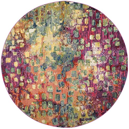 61AZMp2EHFL - Safavieh Monaco Collection MNC225D Modern Abstract Watercolor Pink and Multi Round Area Rug (3' Diameter)
