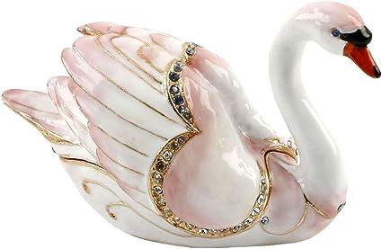 Swan Trinket Box Ornament Treasured Trinkets Amazon Co Uk Kitchen Home