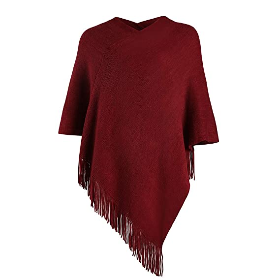 LIKIN Women Poncho Sweater V Neck Solid Knit Pullover Cape Lightweight Shawl Elegant Wrap with Fringes Gifts for Women