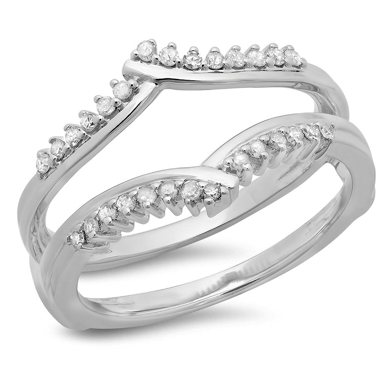0.25 Carat (ctw) 14K Gold Round Diamond Ladies Anniversary Wedding Enhancer Guard Double Ring 1/4 CT