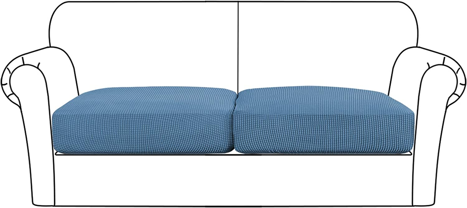 High Stretch Seat Cushion Cover Sofa Cushion Furniture Protector fot Sofa Seat Sofa Slipcover Sofa Cover Soft Flexibility with Elastic Bottom (2 Pieces Cushion Covers, Dusty Blue)