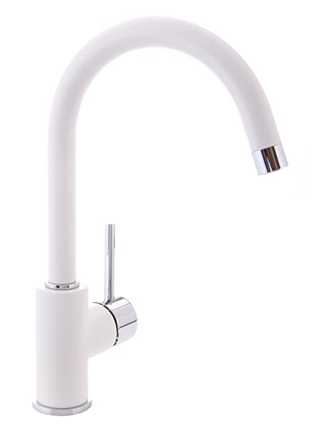 Green Leaf White Kitchen Sink Mixer Tap Fitting Low Pressure Kitchen