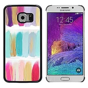 TopCaseStore / la caja del caucho duro de la cubierta de protección de la piel - Oil Paint Green Pastel Colors - Samsung Galaxy S6 EDGE SM-G925