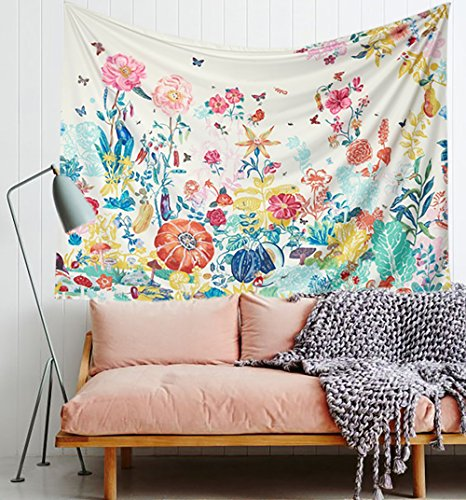 Succulent Meadow Flowers Landscape Wall Tapestry Floral Wall Decor Fabric Wallpaper Home Decor,60