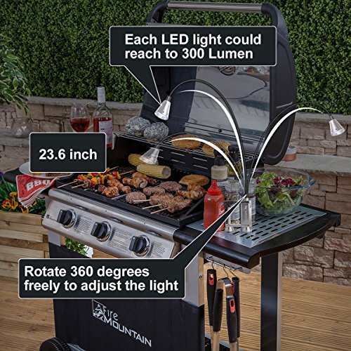 TOPCHARM BBQ Grill Light, Super Bright 12 LED Battery Powered Work Task Light with Magnetic Base 360 Degree Rotation Flexible Gooseneck Adjustable Screw Clamp for Barbecue Grilling