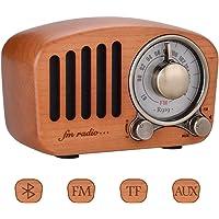 Qoosea Vintage Radio Retro Radio Portable Radio FM Radio with Bluetooth Speaker Handmade Retro Mahogany with Stereo Sound Bluetooth Mini Speaker 3.5mm Audio Input Jack and TF Card Ports