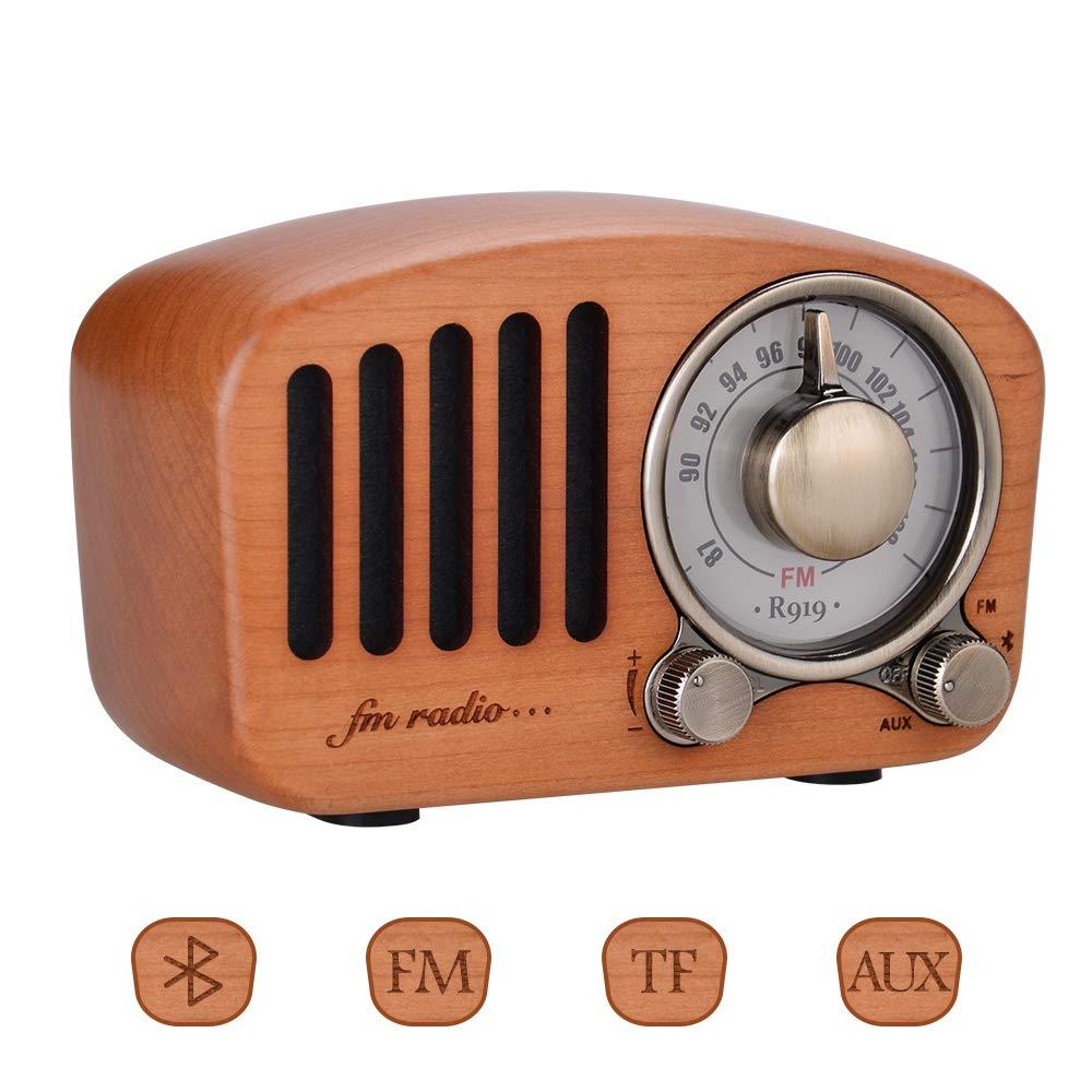 Qoosea Retro Radio Portable Radio FM Radio with Bluetooth Speaker Vintage Radio Handmade Retro Mahogany with Stereo Sound Bluetooth Mini Speaker 3.5mm Audio Input Jack and TF Card Ports by Qoosea