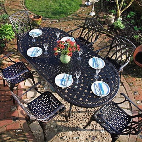 Lazy Susan - Table ovale 210 x 105 cm CATHERINE et 6 chaises ...