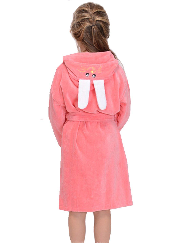 Kids Boys Girls Terry Towelling Bathrobe Hooded Sleepwear Robe