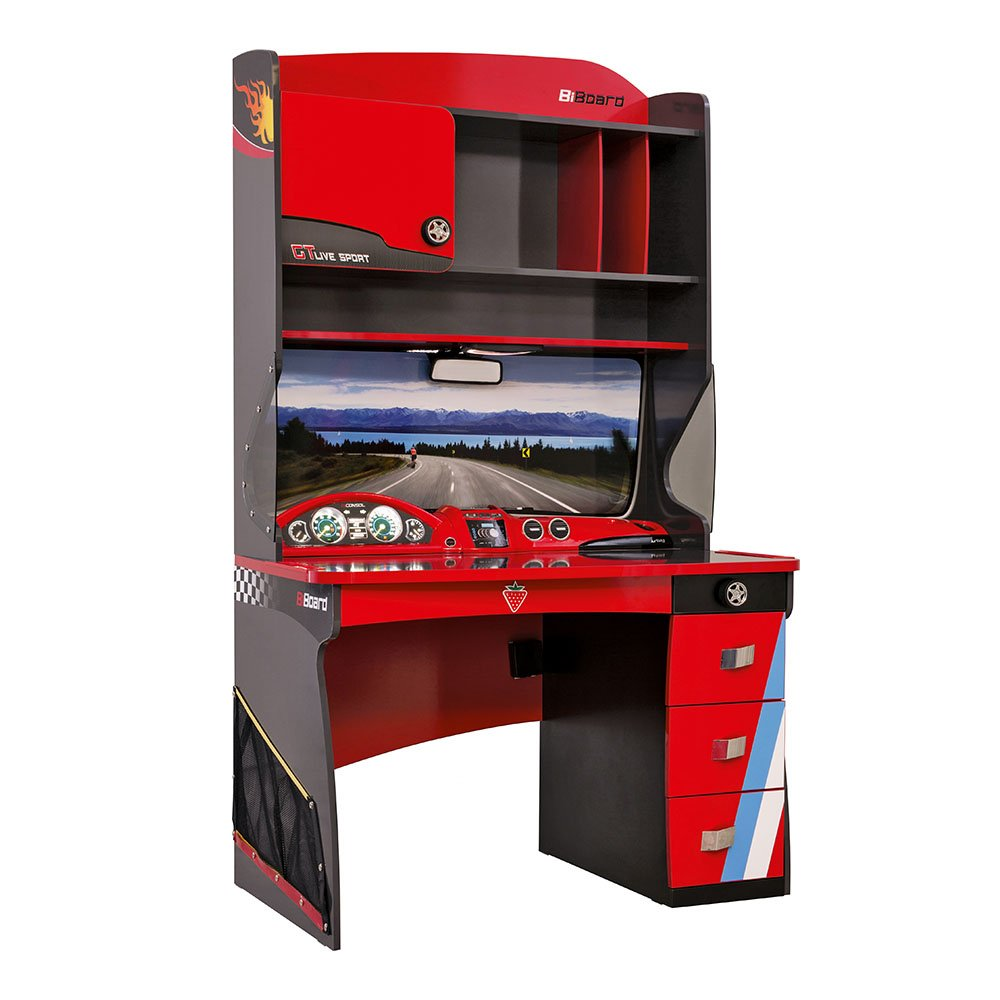 Cilek Kids Room Champion Racer Collection, Smart Desk with Hutch